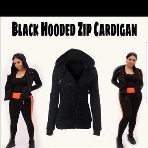 Black Hooded Zip Cardigan